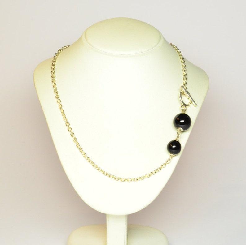 Onyx necklace.925 silver chain.Black gemstone collar.Onyx bead neck.Italian jewelry.Dark stone neck.Handmade stone necklace.Made in Italy