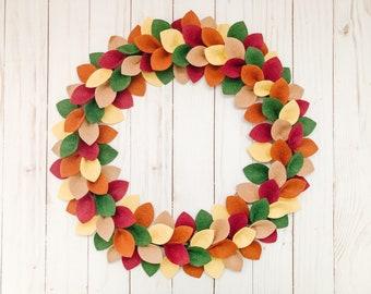 Fall Leaf Wreath, Felt Thanksgiving Wreath, Autumn Front Door Decor, Fall Farmhouse Wreath, Autumn Home Decor, Fall Leaf Wall Hanging