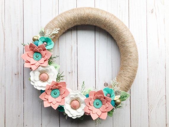 Holiday Wreath White Felt Poinsettia Wreath Felt Flower Wreath White Poinsettia Wreath Door Decor Poinsettia Decor Holiday Decor