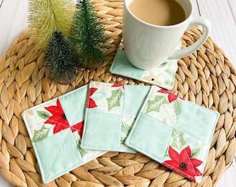 Holiday Coaster Set, Fabric Drink Coasters, Mug Rugs, Poinsettia Decor, Housewarming Gift, Holiday Home Decor, Stocking Stuffer