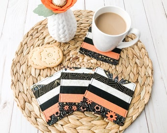 Set of 4 Fabric Coasters, Mug Rugs, Drink Coasters, Shabby Chic Decor, Housewarming Gift, Hostess Gift, Stocking Stuffer, Quilted Coasters