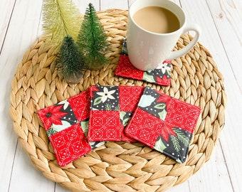 Christmas Coaster Set, Fabric Coasters, Mug Rugs, Set of 4 Coasters, Housewarming Gift, Hostess Gift, Stocking Stuffer, Quilted Coasters