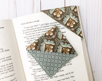 Acorn Bookmark, Fabric Bookmark, Book Lover Gift, Journal Bookmark, Teacher Appreciation Gift, Reader Stocking Stuffer, Corner Page Marker