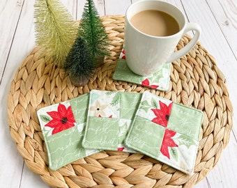 Christmas Coaster Set, Fabric Drink Coasters, Mug Rugs, Holiday Coasters, Hostess Gift, Housewarming Gift, Holiday Decor, Stocking Stuffers