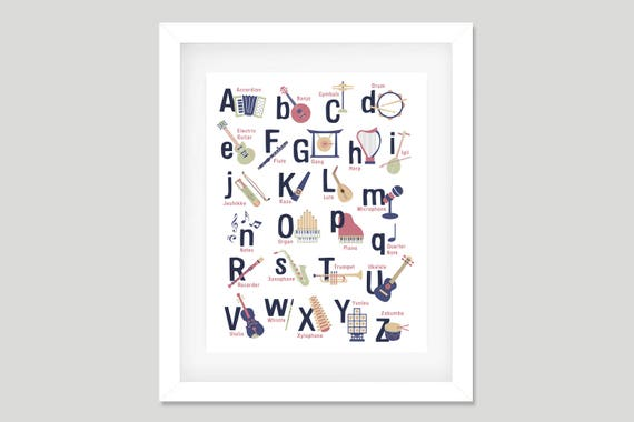 Instrumenty Muzyczne Plakat Alfabetu Druk Przedszkola Motyw Etsy