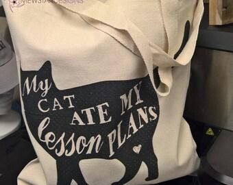Funny Cat Tote, Cat Lover Gifts, Teacher Gifts, Cute Tote, Printed Bag, Canvas Bag, Funny Tote, Custom Tote Bag, Shoulder Bag,  Shopping Bag