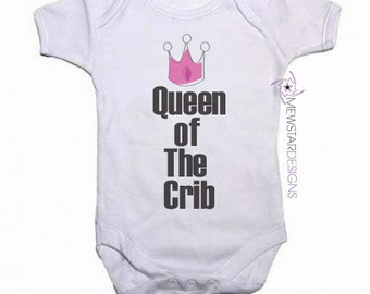 Funny Baby Bodysuit, Queen of Crib, King of Crib, Baby Boy Bodysuit, Baby Girl Bodysuit, Baby Gifts, Baby Shower, Funny Baby Bodysuit