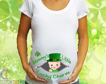 136a5ebd Zipper St. Patrick's Day Maternity Shirt - Mommy's Little Lucky Charm Maternity  shirt - Irish Maternity Shirt - Pregnancy announcement Shirt