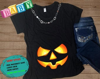 bef160ba1d743 Halloween Maternity Shirt - Glowing Pumpkin Maternity Shirt - Baby Shower  Gift Shirt - Halloween Pregnancy Shirt - Costume Maternity Shirt