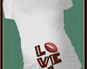 LOVE x 2 TWINS Football Maternity Shirt Personalized sports announcement tshirt new baby celebration Twins Maternity Shirt