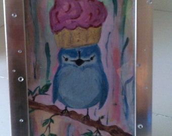 Framed  Blue Bird With Cup Cake Hat Acrylic Painting
