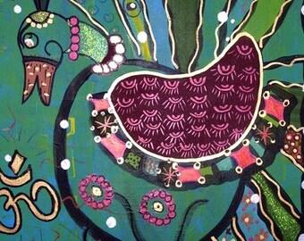Peacock Bird Of Om Print