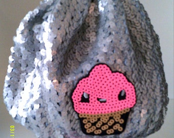 Silver Sequins One Size Fits all Sequins  Cupcake Beanie Women's Teen's  Hat