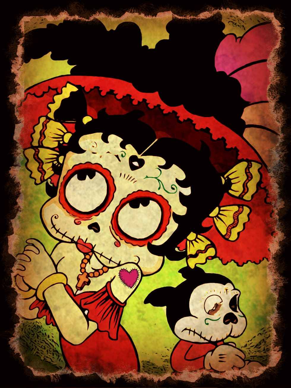 Day Of The Dead Betty Boop Print | Etsy