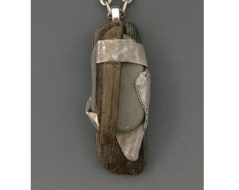 Sculptural Jewelry , Necklace : Lake Ontario Driftwood, Beach Stone and Found Metal Pendant, 'Boundaries' by Deborah Smith