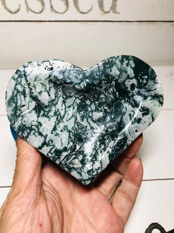Moss Agate Abundance heart shape charging crystal bowl GJ2