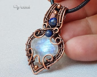 Copper jewelry, moonstone necklace, copper wire pendant, wire wrapped jewelry, boho jewellery, handmade gift for her, lapis lazuli gemstone