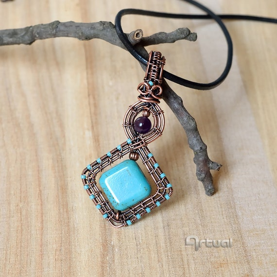 Amethyst and copper wire wrapped pendant for her Purple weave jewelry for women Perfect anniversary gift idea for BOHO girlfriend