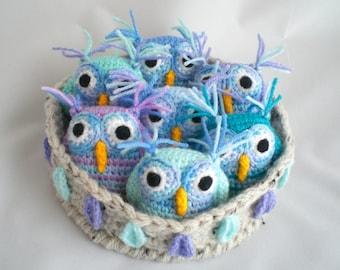 Crochet Owls / Amigurumi Owls /  Seven Owls in Nest / Nest of Owls / Nesting Owls / Owl Plushies / Owl Soft Toy /  Owls in a Nest.