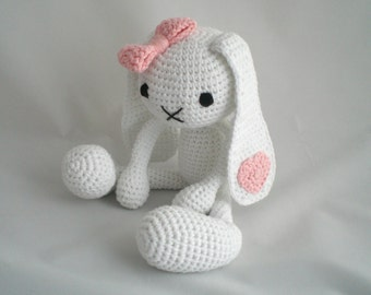 Crochet Bunny Rabbit / Amigurumi Bunny Rabbit / Crochet Plush Toy / Soft Toy with Bow and Heart  / white and pink / New Baby / Baby Shower