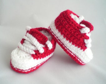 Crochet Baby Shoes / Crochet Trainer Style Baby Shoes / Glitter Baby Shoes / Christmas  Baby Slippers / Baby Trainers / Crochet Baby Booties