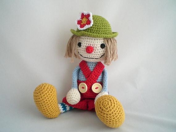 Haak Clown Clown Knuffel Amigurumi Clown Toy Pluche Etsy