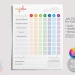 Printable Chore Chart - Rainbow | Daily, Weekly, Bonus Job Chart | Kids Chores & Tasks | Responsibilities Checklist | Editable PDF Download