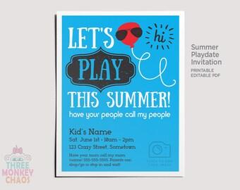 Playdate Invitation Etsy