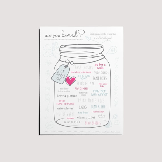 PRINTABLE  I'm Bored Jar  Activities for Kids  Stay at