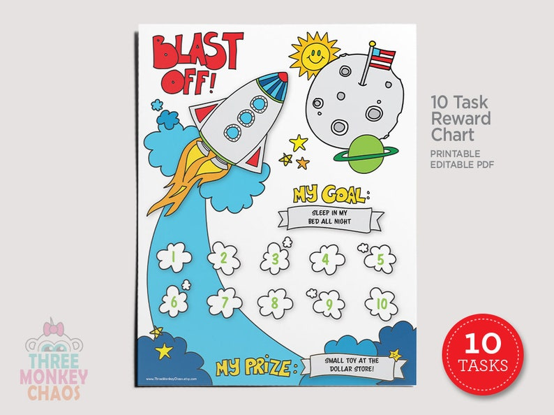 10 Tasks  Rocket Ship Reward Chart  Kids Chore Chart  Star image 0