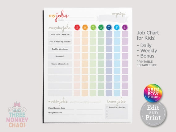 Printable Chore Chart Rainbow Daily Weekly Bonus Job Etsy