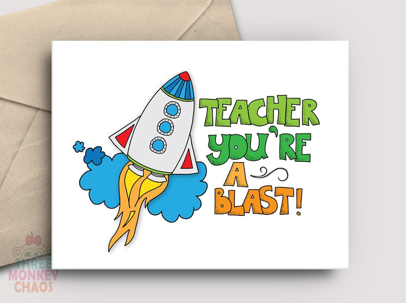 Teacher Appreciation Card  PRINTABLE Card  Teacher image 0