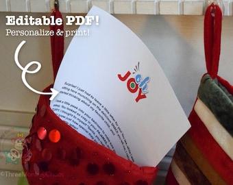 Letter from Santa | Personalized Letter | Stocking Stuffer | Printable Letter for Kids | Editable PDF