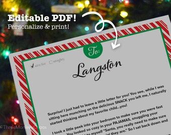 Letter from Santa | Personalized Letter | Stocking Stuffer | Red Stripes Printable Letter | Editable PDF