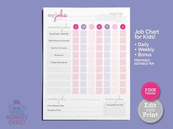 image about Printable Job Chart named Printable Chore Chart - Red Everyday, Weekly, Reward Undertaking Chart Little ones Chores  Projects Obligations Listing Editable PDF Down load
