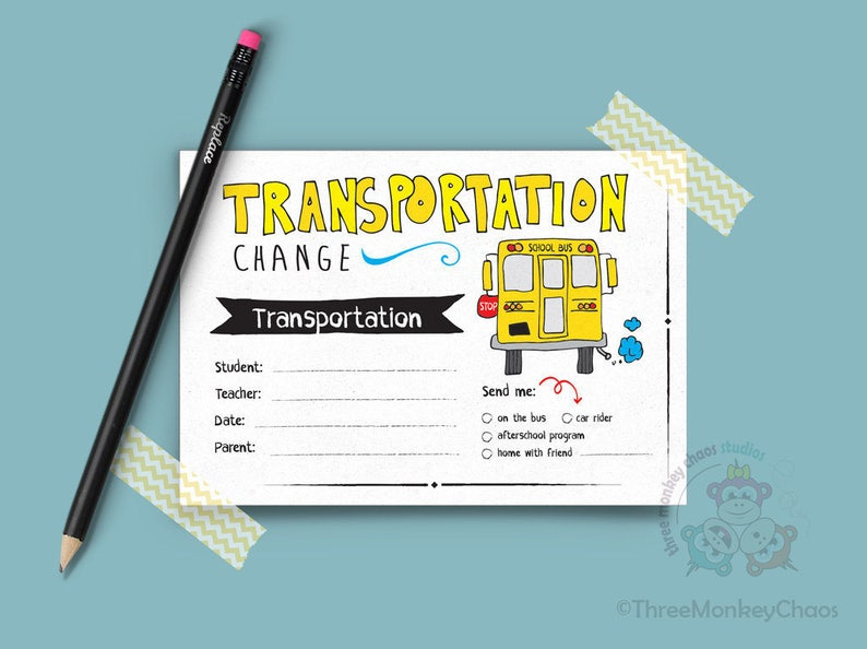 Transportation Change  School Excuse Note  Note for Teacher image 0