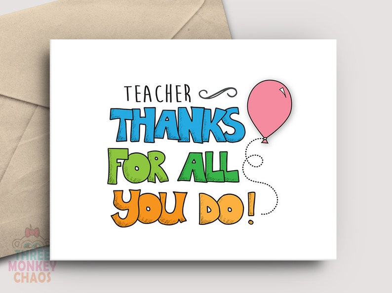 Teacher Appreciation Card  PRINTABLE Card  Thanks for All image 0