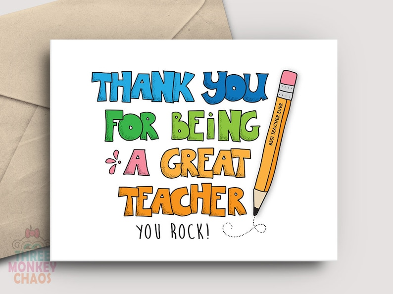 Teacher Appreciation Card  PRINTABLE Card  Being a Great image 0