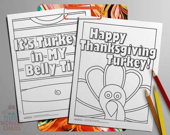 Thanksgiving Coloring Page | Printable Kids Activity Sheet | Turkey Clipart | Teacher Classroom Graphic | Digital PDF | Print & Color!