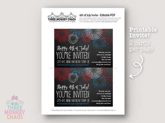 printable 4th of july invite july 4th invitation etsy