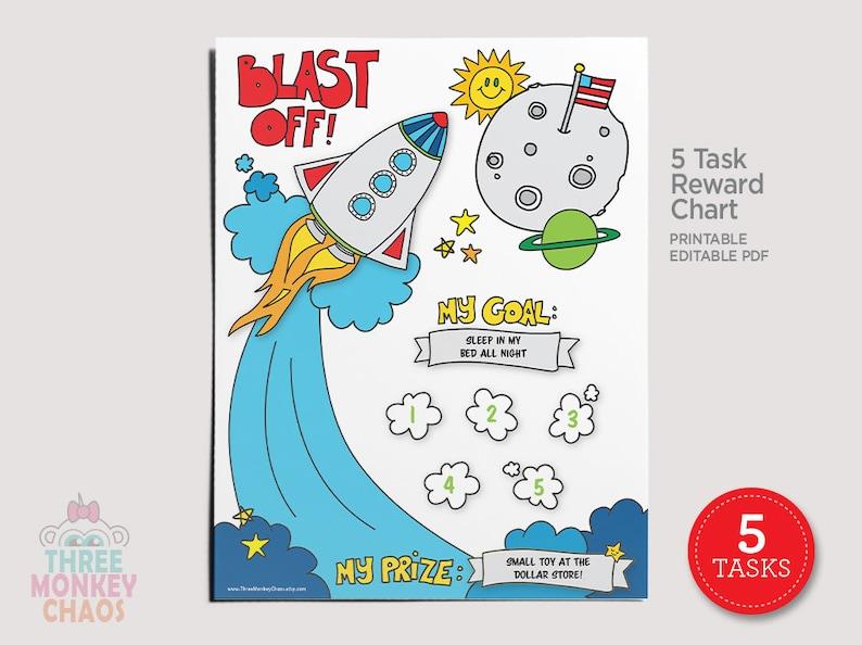 5 Tasks  Rocket Ship Reward Chart  Kids Chore Chart  Star image 0