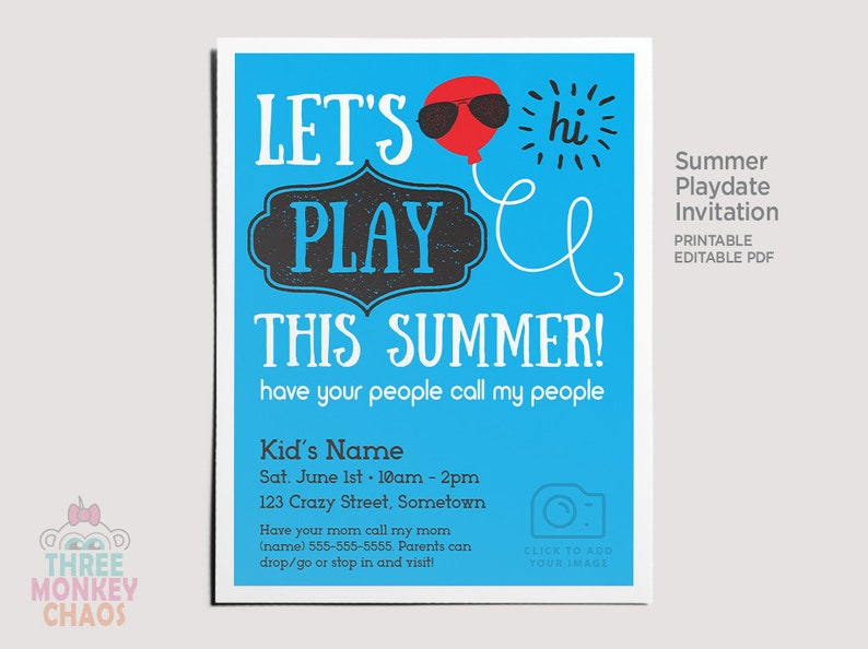 PRINTABLE Summer Playdate Invite  Personalized Photo image 0
