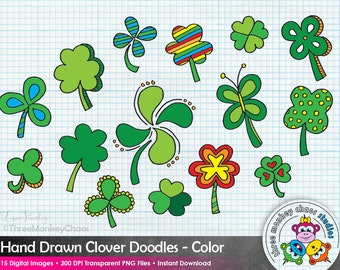 St Patricks Day Clipart Clovers | Hand Drawn Clipart | Scrapbooking Digital Clip Art | Holiday Graphics | Instant Download