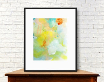 Decorative art print, digital download, citron green and yellow art print, abstract modern home decor, watercolor art, contemporary wall art