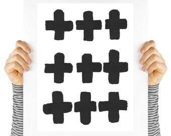 Modern art print, swiss cross, mod digital download, geometric shapes, instant art, retro design & black and white