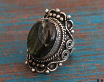 Women's Ring, Silver Ring, German Silver, Stone Rings, Turquoise, Labradorite, Malachite, Bohemian Jewelry, Boho Ring, Ethnic Ring, Big Ring