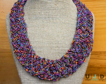 Collar Necklace, Beaded Necklace, Braided Necklace,Woven Necklace,Glass Beads,Brass,Elegant Necklace,Colorful Necklace,Chunky Necklace,Beads