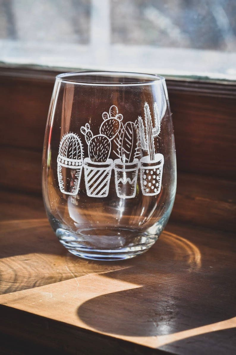 Laser Etched Wine Glass  Succulents  Cacti  Cactus  Plants image 0