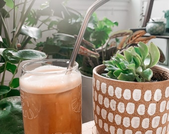 Laser etched monstera glass - coffee cup - beer glass cup