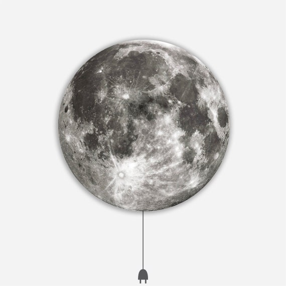 MOON LIGHT :  Illuminated Photo Art Panel - LED Light Panel with Backlit Moon Image